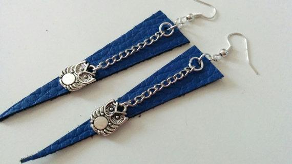 Leather earrings, owl earrings, owl jewelry, owl jewel, leather dangle, dangle earrings, dangle owl, leather owl, blue earrings,blue leather