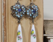 Bluebird Porcelain Earrings- Antique Upcycled Refashioned Floral Drops- Enamel and Rhinestone- One of a Kind-