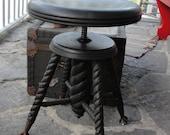 Antique piano stool  Victorian swivel seat 1800's rare design Chas Parker