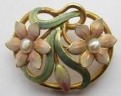 Beautiful Antique ART NOUVEAU Enamel Flowers Pin & Pendant