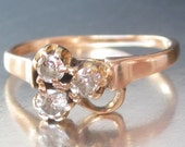 Antique Diamond Lucky Clover Ring 14K. Stacking ring.