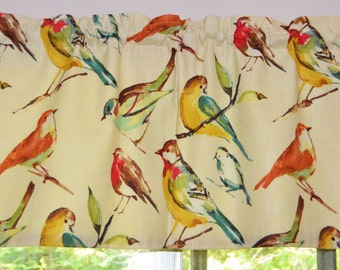 Bird Curtain . Bird Valance . Richloom Birdwatcher Meadow Design . FULLY Lined . Beautiful Handmade by SeamsOriginal