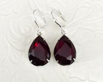 Garnet Red Earrings Crystal Rhinestone Dangle Earrings January Birthstone Gift Idea Bridesmaid Jewelry Prom Statement Earrings