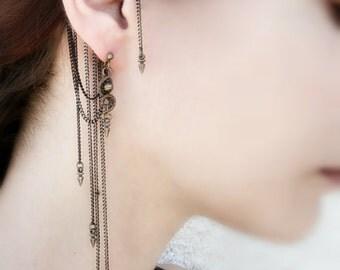 Spike Ear Cuff Wrap - Cuff Chain Earrings - Ear Cuff Spike - Contemporaray Jewelry - Punk Jewelry - Brass Jewelry - Victorian Gothic