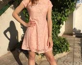 PINK dress, short dresses, summer pastel dress, bohemian lace dress, summer dresses, coachella dress, boho dress,a line,sleeveless