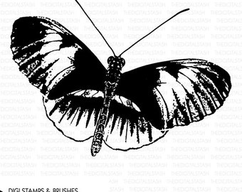 BUTTERFLY 5 - Digital Stamp and Brush - INSTANT DOWNLOAD - for Cards, Scrapbooking, Journaling, Collage, Invites, Crafts and More