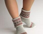 Fair Isle Hand Knitted Women's Woolen Socks - 100% Natural Wool