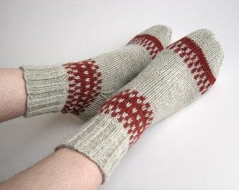 Hand Knitted Patterned Wool Socks - 100% Natural Wool - Light Gray, Dark Terracotta
