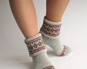 Fair Isle Hand Knitted Women's Woolen Socks - 100% Natural Wool