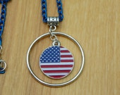 July 4th Necklace  USA Flag Necklace Flag Pendant flag necklace patriotic necklace red white and blue necklace 4th of July Necklace