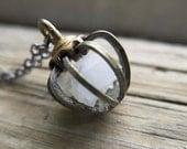 June Birthday Moonstone Necklace Birthstone Crystal Gemstone Jewelry Pearl Alternative metal cage Pendant