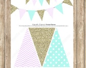 DIY Pendant Banner Birthday girl Lavender mint gold  PRINTABLE  chevron polka dot glitter 1st birthday purple lilac - 1034