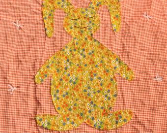 Bunny Baby Quilt Orange Gingham and Yellow Calico Applique Rabbit Handmade Blanket