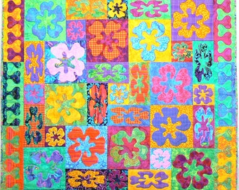 Appliqued Art Quilt, Flower Quilt, Quilted Wall Hanging, Decorative Wall Quilt, Quilted Tapestry,  Table Topper, Quilted Headboard