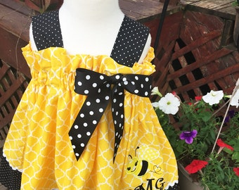 Custom Made Monogram name Honey Bee bumble B applique Yellow Quartrefoil Polka dot Dress sundress party Embroidered  24M 2T 3T 4T 5 6 7 8 10