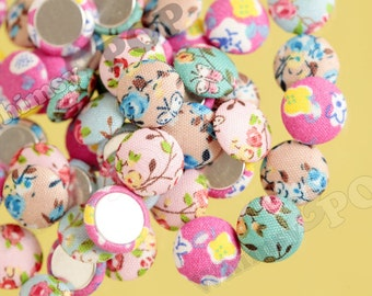 Mixed Colors Plush Floral Circle Round Button Flatback Deco Cabochons, Round Button Cabochons, Fabric Cabochons, Cloth Covered 15mm (R8-078)