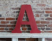 "24"" Wooden Letter A, Alternative Wedding Guestbook, Classic Font in Distressed White - all letters available in many colors"