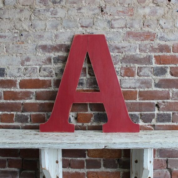 """24"""" Wooden Letter A, Alternative Wedding Guestbook, Classic Font in Distressed White - all letters available in many colors"""