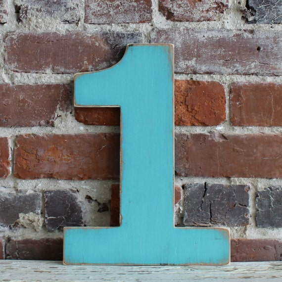 """12"""" Wooden Number 1, Distressed White, Oversize Number, all numbers many colors available"""