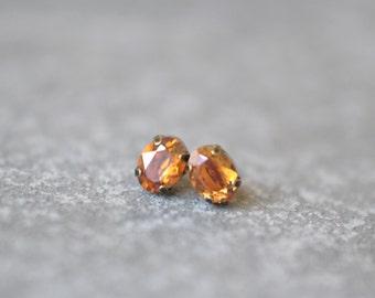 Bronze Copper Mist Earrings Swarovski Crystal 8mm Oval Petite Studs Super Sparklers Small RARE Earrings Mashugana