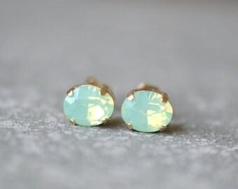 Mint Opal Stud Earrings Swarovski Crystal Studs Earrings Mint Green Super Sparklers Vintage Mashugana