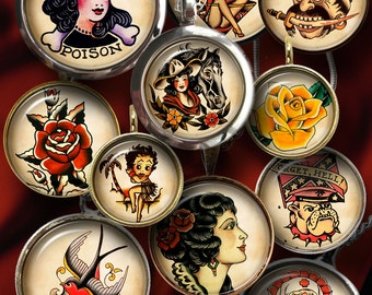 """Retro Tattoo - Digital Collage Sheets for Bottle Caps, Pendants, Crafts, 1.5"""" 1.25"""" 30mm 1"""" 25mm circles, Printable Digital Download CG-914"""