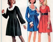 1960s Scoop Neck Dress Pattern Butterick 4944 Vintage Sewing Pattern Ruffled Neckline and Gathered Skirt Bust 36