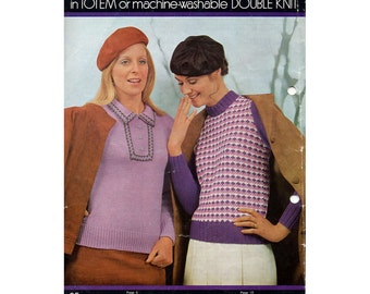 Vintage 1960s Women's Knitting Patterns Swinging Sixties Mod Sweaters, Cardigans, Dress and Skirt Original Patons Knitting Booklet 916