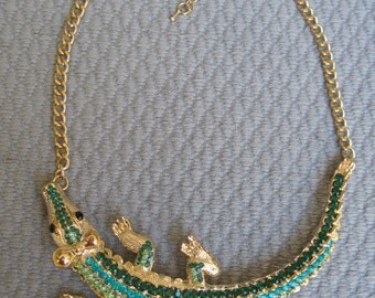 Jazzy Tones of Green and Gold Sparkling Crocodile Necklace