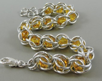 Chainmail Bracelet Swarovski Crystal Passions Sunflower Yellow Chainmaille Bracelet, Captured Chain Mail Bracelet