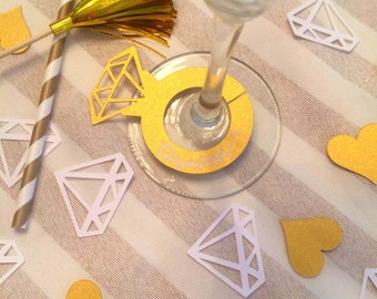 15 GOLD He Put A Ring On It diamond engagement ring wine champagne drink markers bachelorette bridal shower or engagement party decoration