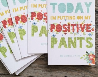 Inspirational Positive Pants Funny Greeting Card Snarky Funny Greeting Card Funny Greeting Card Positive Pants Typography Floral Card
