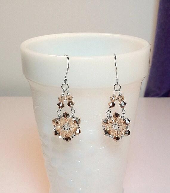 Swarovski Rose Gold Crystal Chandelier Earrings Christmas Mom
