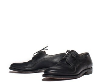 7 D | 1950's 1960's Vintage Men's Black Oxfords Walking Shoes by Freeman