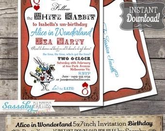 Alice in Wonderland Birthday Party Invitation - INSTANT DOWNLOAD - Editable & Printable Tea Party Birthday Invitation by Sassaby Parties
