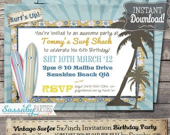 Vintage Surf Birthday Party Invitation - INSTANT DOWNLOAD - Editable & Printable Beach, Pool, Summer Party Invitations by Sassaby Parties