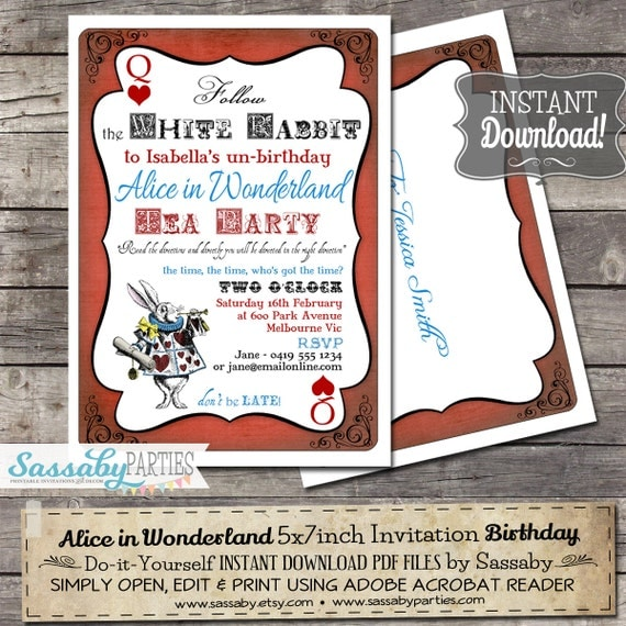 Alice in Wonderland Birthday Party Invitation - INSTANT DOWNLOAD - Editable & Printable Birthday Invitation by Sassaby