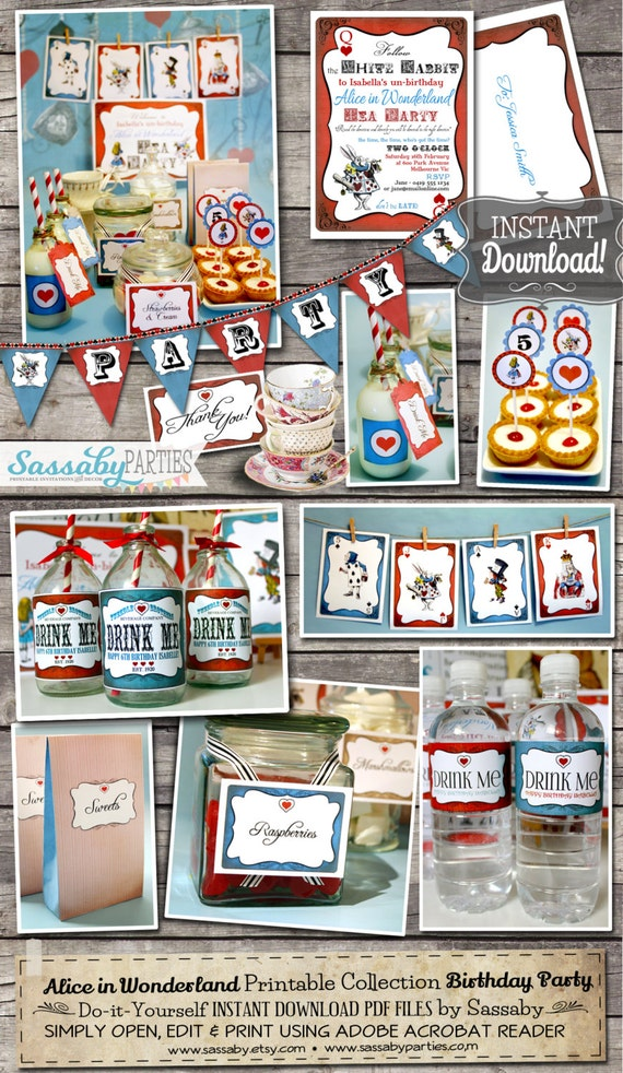 Alice in Wonderland Party Collection - INSTANT DOWNLOAD - Birthday Party Invitation and Decorations by Sassaby Parties