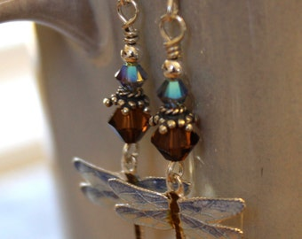 Dragonfly Earrings, Brown and Blue Sterling Silver Cloisonne | Summer & Spring Jewelry |  Handcrafted Dragonfly Jewelry | Dragonfly Gift
