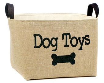 Dog Toys Burlap Storage Basket
