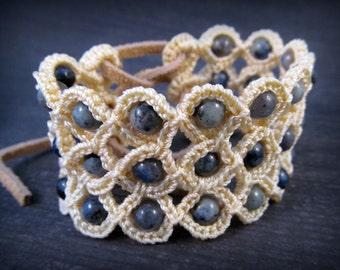 Boho Corset Cuff Bracelet, Blue Jean Jewelry, Bohemian, Gyspy - adjustable