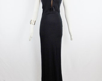 Vintage Amazing JEAN PAUL GAULTIER Maxi Full Length Black Wiggle Leather Trim Toggle Desisgn Bodice Size Small