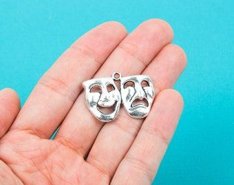 4 Silver Tone Large Drama Acting Theater COMEDY TRAGEDY MASK Charm Pendants chs0087