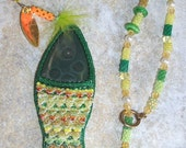 Ocean Jasper bead embroidered fish necklace