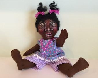 CLOTH BABY DOLL Handmade Hand Painted