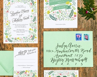 4 cards set, Spring Woodland Forest No. 2 Wedding Invitation Suite Printable