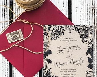 Botanical Flora Wreath Wedding Invitation Printable Template