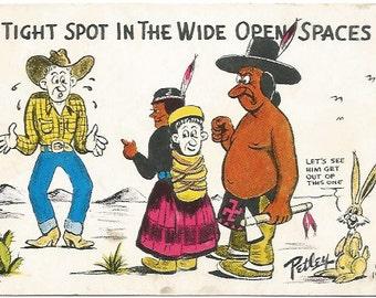 Politically Incorrect Comic Native American Couple Baby Looks Like Cowboy Petley 1950 Vintage Postcard