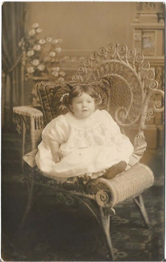 Beautiful baby girl vintage postcard