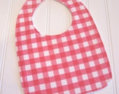 Baby Bib/Infant--18 mo./Bright Pink Gingham/Organic Fleece Back